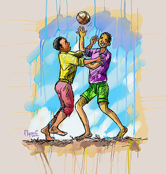 Boys Playing with a Ball by Anthony Mwangi