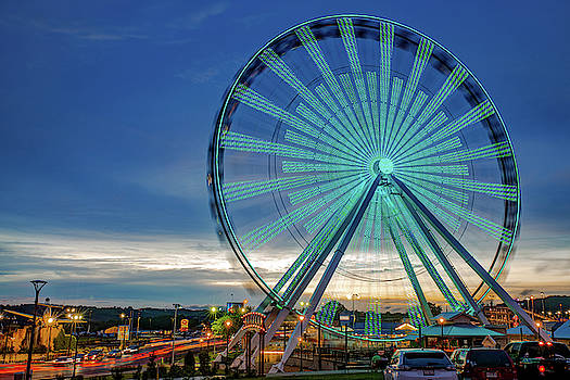 Branson Strip and Ferris Wheel at Dusk by Gregory Ballos