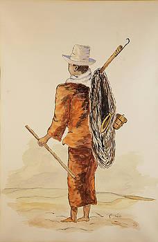 Brazil Watercolor Fisherman by Pol Shane