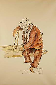 Brazil Watercolor Man on Bench by Pol Shane