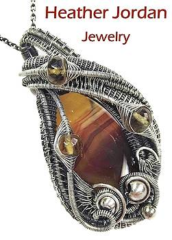 Brazilian Agate Wire-Wrapped Pendant in Sterling Silver with Citrine by Heather Jordan