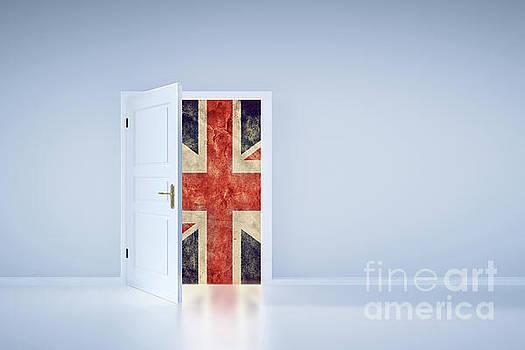 Michal Bednarek - Brexit concept. UK flag behind the exit door