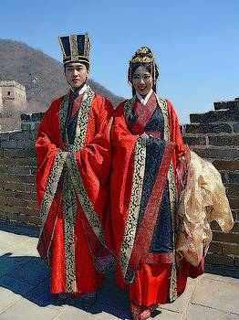 Bride And Groom At The Great Wall by Toni Abdnour