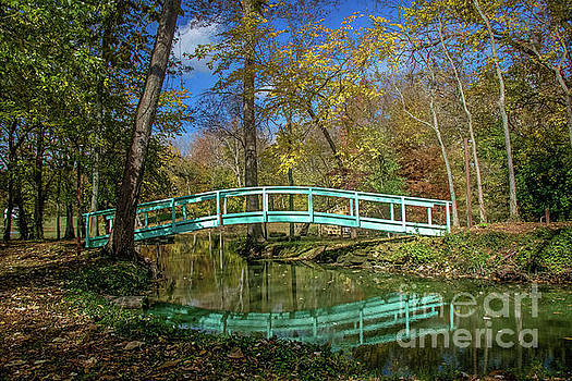 Bridge at New Harmony by Warrena J Barnerd