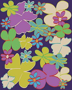 Bright Blooms on Dark Purple by Lisa Blake