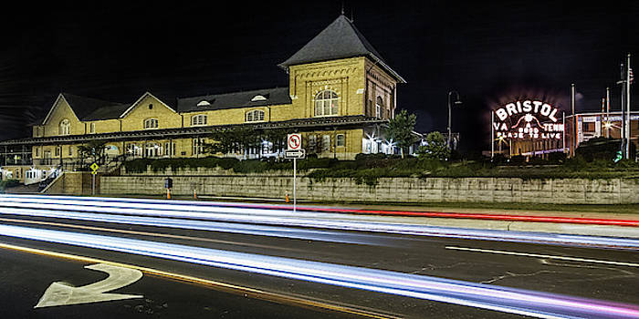Bristol Train Station and Bristol Sign at Night by Greg Booher