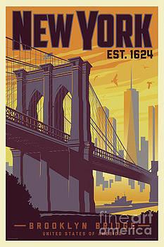 Brooklyn Bridge Poster - New York Vintage by Jim Zahniser