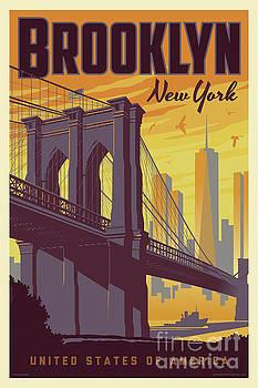 Brooklyn Poster - Vintage Brooklyn Bridge by Jim Zahniser