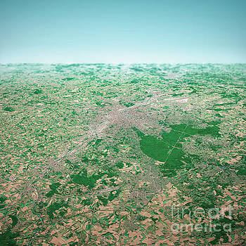 Frank Ramspott - Brussels City 3D Render Aerial Horizon View From South Aug 2019