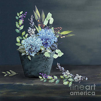 Bucket of Blue Hydrangeas by J Marielle
