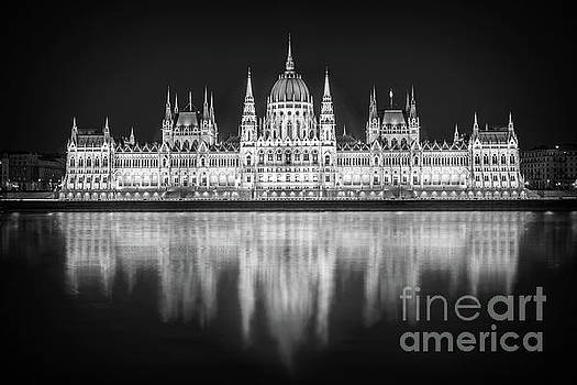 Budapest parliament black and white by Delphimages Photo Creations