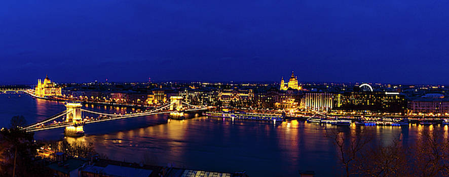 Budapest Twilight Panorama by Andrew Soundarajan