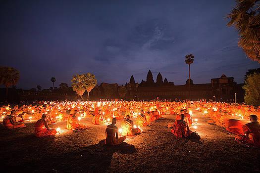 Buddhist monks meditation at Angkor by Darren Wilch