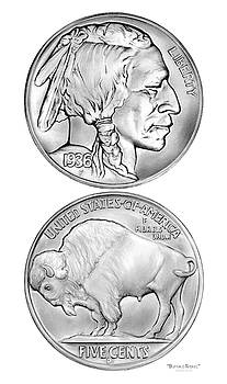 Buffalo Indian Nickel 1936 by Greg Joens