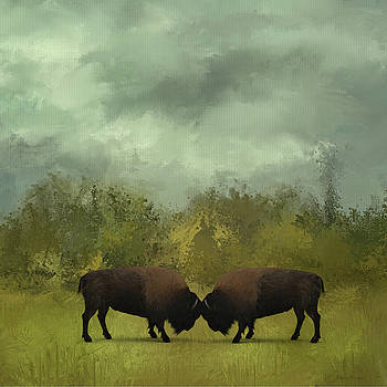 Buffalo Standoff - Painting by Ericamaxine Price