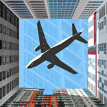 Buildings and Plane Collage by Tin Tran