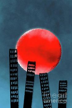 Benjamin Harte - Buildings and red moon