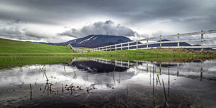 Burke Mountain Fence Reflection by Tim Kirchoff
