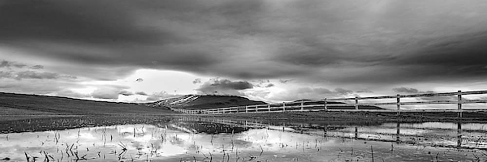 Burke Mtn Fence Reflection Pano BW by Tim Kirchoff