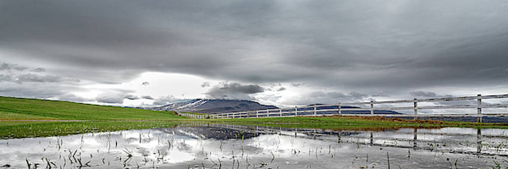 Burke Mtn Fence Reflection Panoramic by Tim Kirchoff