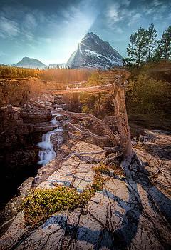 Burst of Light / Swiftcurrent Falls, Glacier National Park  by Nicholas Parker