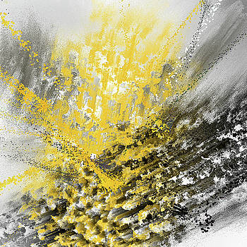 Burst Of Sun - Yellow And Gray Contemporary Art by Lourry Legarde