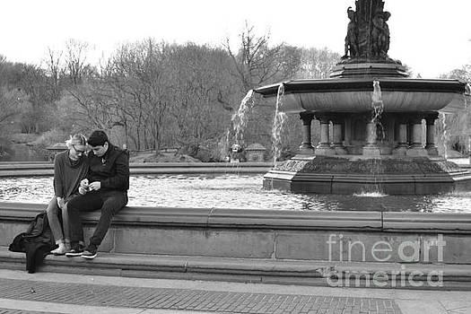 By the Fountain - Central Park New York by Miriam Danar