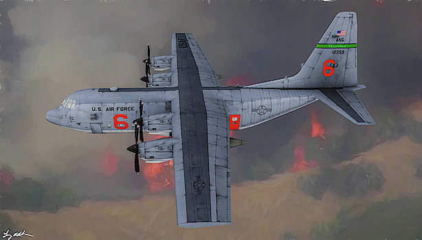 CA ANG C-130 Fire Tanker - Oil by Tommy Anderson