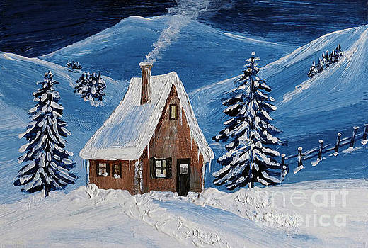 Cabin in the snow by Christine Huwer