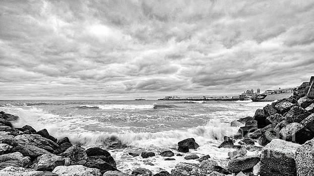 Cadiz Skyline from Santa Maria del Mar Beach Spain Black and White by Pablo Avanzini