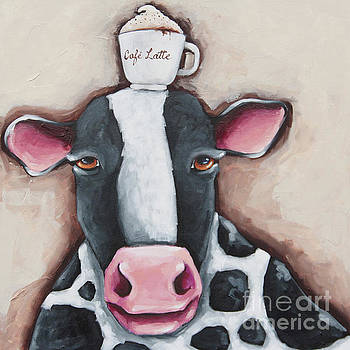 Cafe Latte Cow by Lucia Stewart