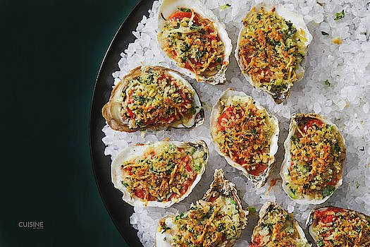Cajun oysters on the half shell by Cuisine at Home