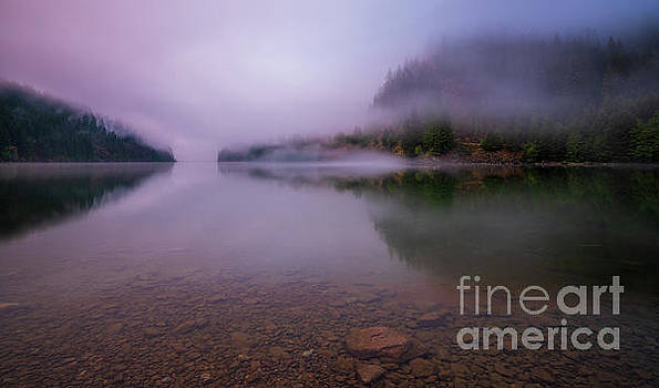 Calm Lake Reflection Cloud Trails by Mike Reid
