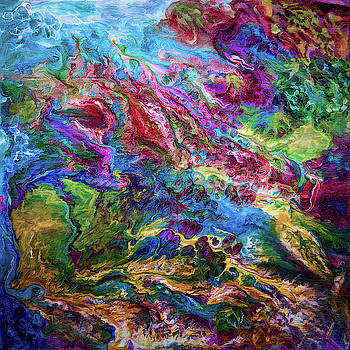 Calypso Abstract Painting by OLena Art  by OLena Art - Lena Owens