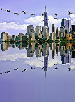 Canada geese flight over the Hudson by Geraldine Scull