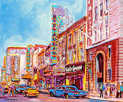 Canadian Art Montreal Scenes Downtown St Catherine Vintage Stores And Restaurants C Spandau Artist by Carole Spandau