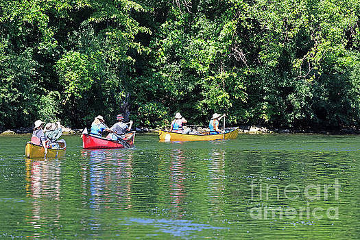 Canoeing on the Rideau Canal in Newboro Channel Ontario Canada by Louise Heusinkveld