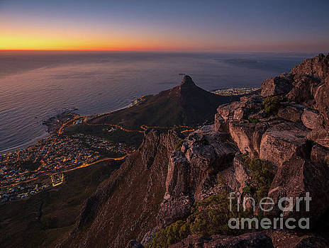 Cape Town Lions Head Sunset from Table Mountain by Mike Reid