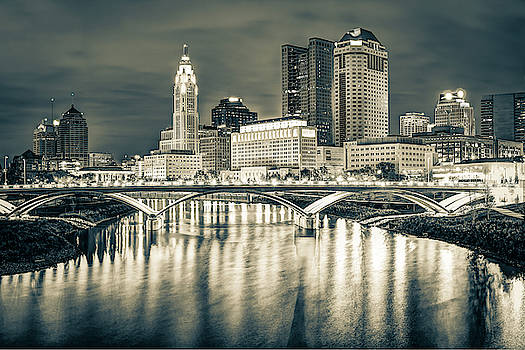 Capital City Skyline - Downtown Columbus Ohio in Sepia by Gregory Ballos