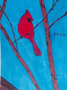 Cardinal In A Tree by Michael Hoback