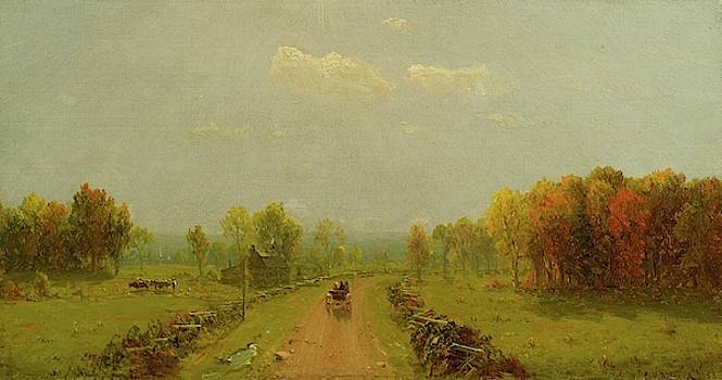 Carriage On A Country Road by Sanford Robinson