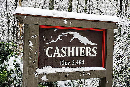Cashiers NC Welcome sign in the snow by Seth Solesbee