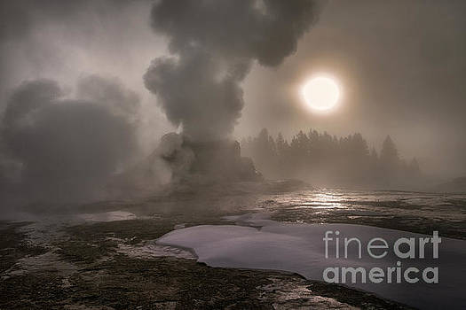 Castle Geyser Sunrise - Yellowstone National Park by Sandra Bronstein