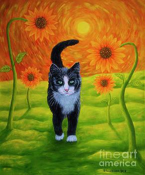 Cat and Sunflowers by Veikko Suikkanen