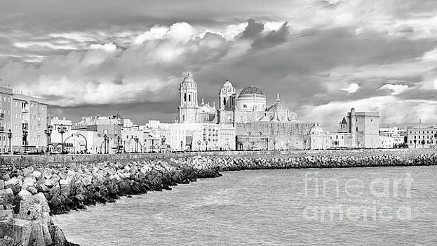 Cathedral from Southern Field Cadiz Spain Black and White by Pablo Avanzini