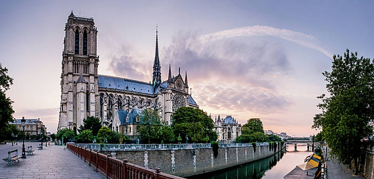 Cathedral of Notre Dame from the Bridge - Paris France by Harmeet Gabha