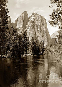 California Views Archives Mr Pat Hathaway Archives - Cathedral Rocks/Spires reflecting in Merced River at Yosemite 1