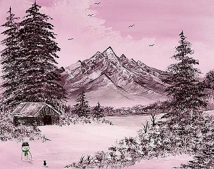 Cats first winter fun pink by Angela Whitehouse
