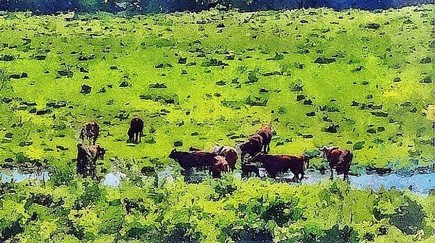 Cattle At Creek by Bakke and Schweizer Paintings