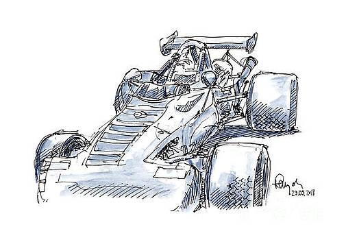 Frank Ramspott - Celi Porsche AC 7 Classic Racecar Ink Drawing and Watercolor